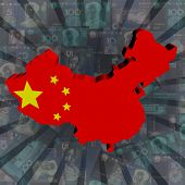 China map flag on Yuan sunburst illustration
