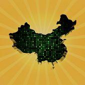China sunburst map with hex code illustration