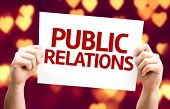 Public Relations card with heart bokeh background