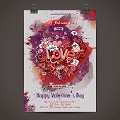 Vector love doodles watercolor poster design