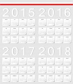 Set Of Polish 2015, 2016, 2017, 2018 Calendars