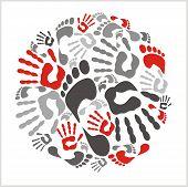 Mixed handprints and footprints - vector illustration.