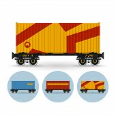 Set Of Icons Colored  The Containers On A Railway Container Platform, Vector Illustration