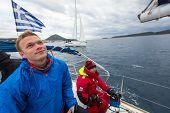 ZAKYNTHOS - PYLOS, GREECE - OCT 5, 2014: Unidentified sailors participate in sailing regatta 12th Ellada Autumn-2014 on Aegean Sea.