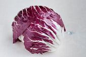 Radicchio Red Salad On Wooden Background. Close-up