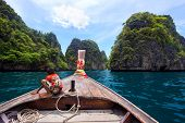 Boy On Long Tail Boat, Koh Phi Phi Iland, Thailand