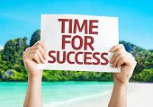 Time for Success card with a beach on background