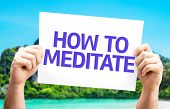 How to Meditate card with a beach on background