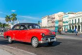 HAVANA, CUBA - JANUARY 8, 2015 : Old american car on a beautiful sunny day in Old Havana