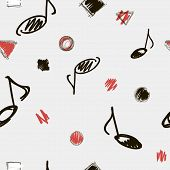 Music Note Background. Vector Illustration. Seamless Black, White And Red Abstract Pattern With Musi