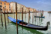 Moored Gondolas In Venice
