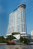 BANGKOK, THAILAND - DECEMBER 25, 2014: Millennium Hilton Bangkok hotel. This contemporary riverside property with world-class facilities, restaraunts and bars featuring 543 guest rooms.