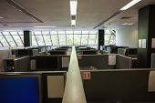 Empty office with separate units at the university