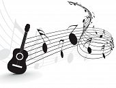 Music notes with guitar player for design use