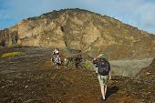 Galapagos Islands, Ecuador - May 2014: Visitors Hiking on Punta Pitt Extinct Volcanoes