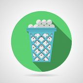 Flat vector icon for golf. Blue basket with balls
