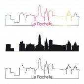 La Rochelle Skyline Linear Style With Rainbow