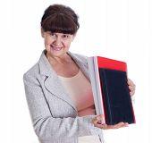 Aged lady posing like a office worker, admin, secretary
