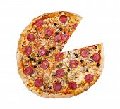 picture of partition  - Top view of pizza isolated on the white background - JPG