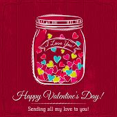 Red Valentine Card With Jar Filled With Heart And Wishes Text,  Vector
