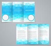 Three Fold Business Brochure Template With Triangles, Corporate Flyer Or Cover Design In Blue  Tones