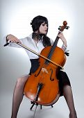 Romantic Girl Playing Cello