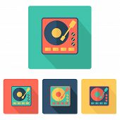 Set of colorful turntables in flat style
