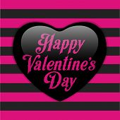 Glossy Emo Heart. Pink And Black Stripes