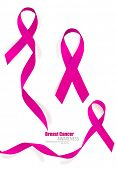 Breast cancer awareness pink ribbon. Vector Illustration.
