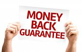 Money Back Guarantee card isolated on white background