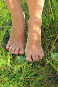 stock photo of painted toenails  - pink painted toenails on woman - JPG