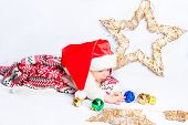 pic of christmas baby  - Beautiful little baby celebrates Christmas - JPG