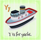 Illustration of a letter Y is for yacht
