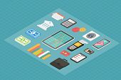 Finance isometric 3d icons.