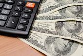 American Money Pile Heap And Calculator