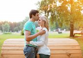 Sunny Couple In Love Outdoors, Warm Tender Feelings