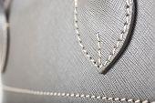 Gray Stitched Leather Handbag