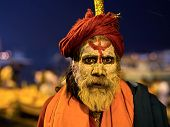 Portrait Of An Indian Sadhu In Varanasi, India