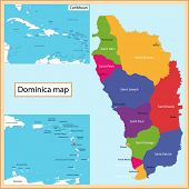 Постер, плакат: Map of the Commonwealth of Dominica drawn with high detail and accuracy