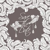 "picture of tassels  - ""Save The Date"" card. Flourish white frame and text in the middle, decorated with feathers and tassels vintage style. - JPG"