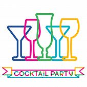 Abstract Colorful Cocktail Glass Background. Concept For Bar Menu, Party, Alcohol Drinks, Celebratio