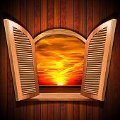 Open Window With View Of The Sunset
