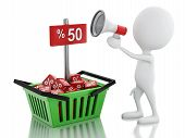 3d man sale announcement with megaphone and shopping basket.