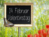 Chalkboard With German Text 14. Februar Valentinstag