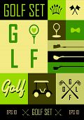 Golf. Vector Labels. Set Golf Icons On A Grassy Green Background. Cup, Ball, Clubs And Golf Car Life