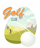Golf Ball And A Beautiful Landscape. Golf Club. Poster For Sport. Beautiful Sunny Day On The Golf Co