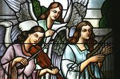 image of stained glass  - Angels Musicans - JPG
