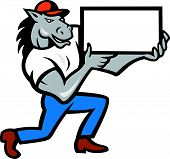 stock photo of bronco  - Illustration of a horse kneeling holding blank sheet board presenting set on isolated white background done in cartoon style - JPG