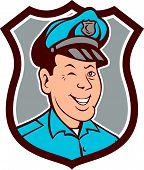 Policeman Winking Smiling Shield Cartoon