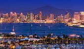 stock photo of yacht  - Scenic San Diego Panorama at Night - JPG
